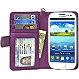 Navor Samsung Galaxy S3 Deluxe Book Style Folio Wallet Leather Case with Money Pocket & Removable Strap (Purple)