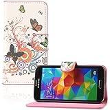 tinxi�Kunstleder Tasche f�r Samsung Galaxy S5 / S5 NEO Tasche Flipcase Schale Etui Case Cover Skin mit Karten Slot Rund und Schmetterling