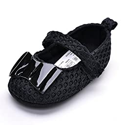 Baby Girls\' Patent Leather Bow Mary Jane Shoes Black US Size 4