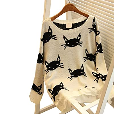 Partiss Women Fashion Loose Hollow Knit Cat Face Lennon Sweater