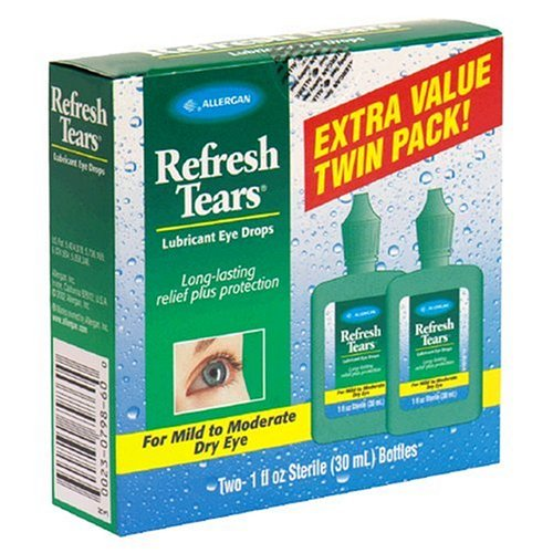 Refresh Tears Lubricant Eye Drops for Mild to Moderate Dry Eyes, Extra Value Twin Pack, 2 - 1 Fluid Ounce (30 ml) Bottles