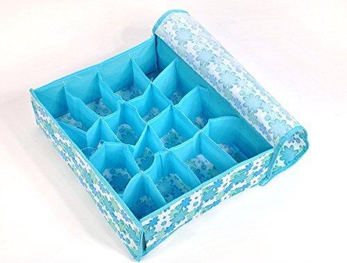 Bleu Repliable Chaussettes soutien-gorge sous-vêtements/cravate Tiroirs Boîte rangement organiseur