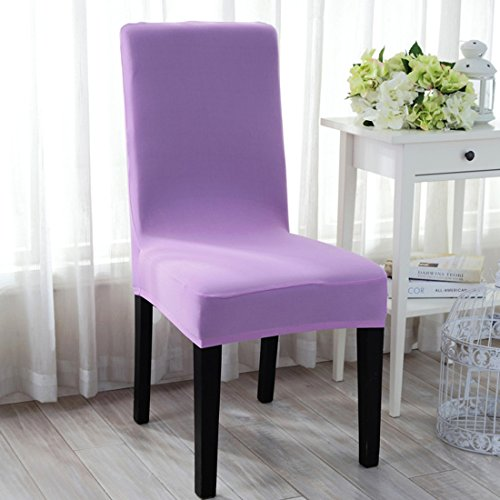Uxcell® Stretchy Removable Washable Seat Covers Hotel Dining Room Ceremony Kitchen Bar Dining Chair Cover Restaurant Wedding Part Decor (Light Purple)