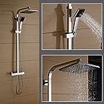 Auralum® 2 Jahre Garantie Duschset mit Thermostat und Höhenverstellbar ca. 82 bis 122cm Kopfbrause 20x20cm Inkl. Handbrause + Regenbrause