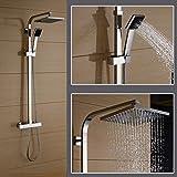 Auralum® Thermostat Duscharmatur Duschpaneel Duschstange Regendusche Duschset Inkl. Handbrause und