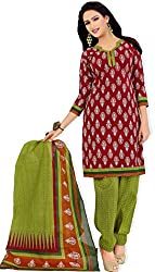 atisundar charming Maroon And Green Traditional Cotton Printed Salwar Suit- 4301_39_8009
