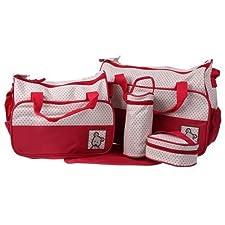 Ecosusi 5 in 1 Designer Bear Diaper Tote Bag (Royal Red) by Ecosusi (English Manual)