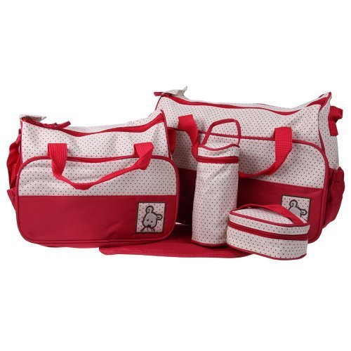 Ecosusi 5 in 1 Designer Bear Diaper Tote Bag (Royal Red) by Ecosusi (English Manual)