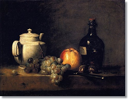 Blossoming Art White Teapot With White And Red Grapes, Apple, Chestnuts, Knife And Bottle By Jean-Baptiste-Simeon Chardin Hand Made Reproductio(20 Inch * 15 Inch ,Unframed)