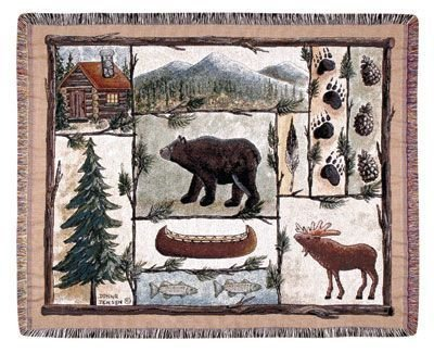 "Cabin Fever Moose Bear Lodge Tapestry Throw Blanket 50"" X 60"" Usa Made front-872481"