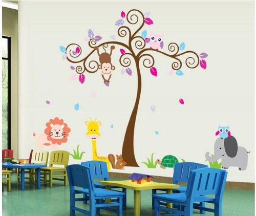 Ex-Large Scroll Tree Kid'S Wall Decor Baby Boys Girls Nursery Wall Decal Jungle Monkey Owl Elephant Squirrel Lion Giraffe Tortoise Playroom Sticker front-210358