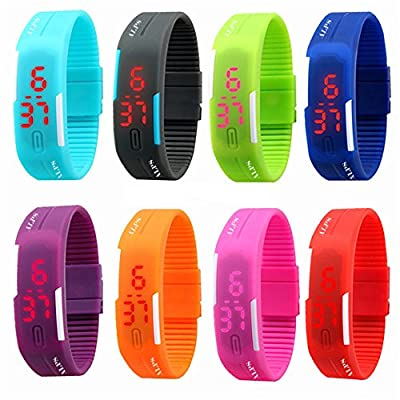 ALPS New Womens mens kids Silicone Band Touch Screen Sports LED Watch Bracelet (8 Pack)