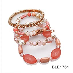 Designer Bohemian Style Crystal Pearls Jewelry Bijoux Fashion Gold Color Alloy Colorful Enamel Rhinestone Flower Multi Layer Bangles Sets by Elite Trend (BRECELET1761)