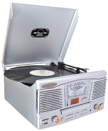 Pyle Home Ptcd8Us Retro Style Turntable With Cd/Radio/Usb/Sd/Mp3/Wma And Vinyl To Mp3 Encoding (Silver)