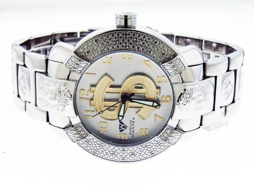 Aqua Master Large 45Mm Round 20 Diamonds Watch Silver & Yellow Gold Dollar Sign