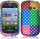 Samsung S738c S738 c Galaxy Centura Straight Talk Colorful Polka HARD RUBBERIZED CASE SKIN COVER PROTECTOR