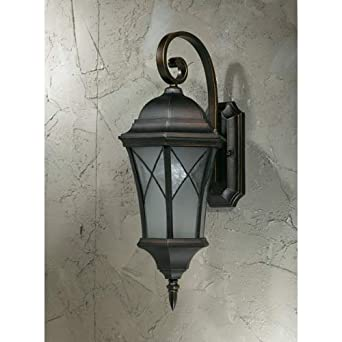 "Outdoor Wall Lantern with White Frosted Glass in Oil Rubbed Bronze Size: 22"" H x 9.25"" W x 11.25"" D"