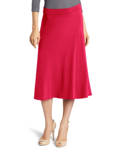 Three Dots Red Women's Tea Length Skirt, Wild Raspberry, Medium