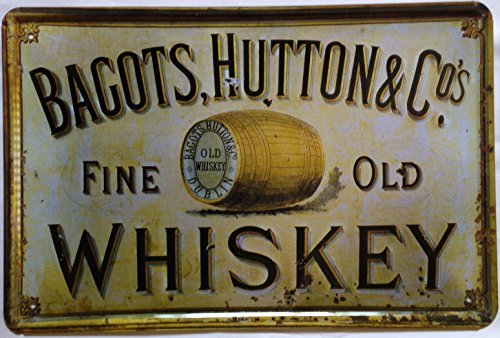 "Bagots,hutton Fine Old Whiskey Retro Vintage Tin Sign 12"" X 8"""
