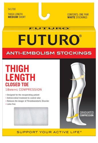 Futuro Anti-Embolism Stockings Medium Short White Thigh Length Closed Toe 1 PairB0000AKONB