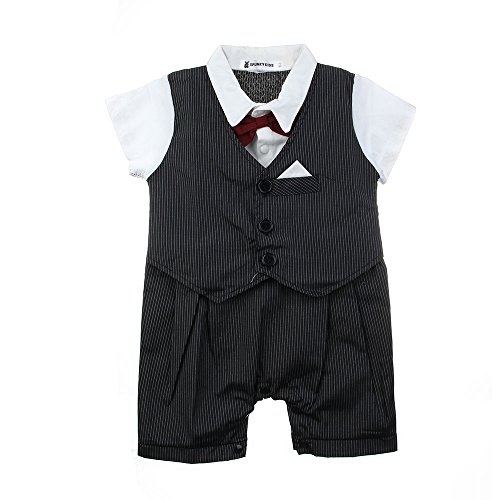 "Andi Rose Boy Infant Toddler Tuxedo With Vest Bow Tie Formal Suit One-Piece (S:80Cm/31.49"") front-119253"