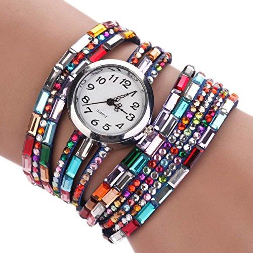 Zeagoo® Women'S Quartz Wrap Around Leather Bracelet Wrist Watch