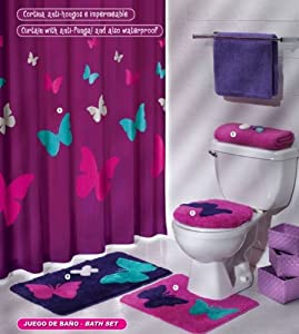Purple pink butterfly mat rug bath set 5 pcs bathroom sets with shower curtain - Purple bathroom accessories uk ...