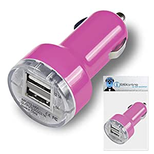 Samsung Galaxy J3 Pink Dual 2.1 / 1 Amp Compact Fast Charge Car Charger Adapter