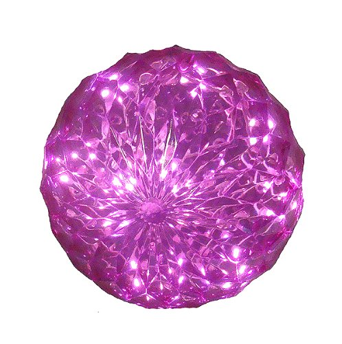 Pink LED Lighted Hanging Christmas Crystal Sphere