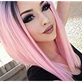 AISI HAIR Ombre Pink Wigs Straight Short Length Wigs for Women Middle Part Wigs Dark Roots Heat Resistant Synthetic Wigs (Color: Pink, Tamaño: medium)