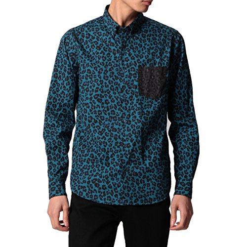 (ボイコット)BOYCOTT レオパード柄コットンシャツ ブルー(192) 03(L)