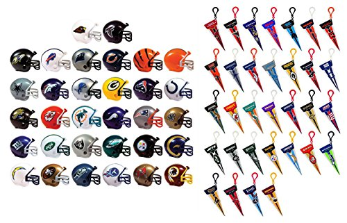 Mini Nfl Football Helmets and Mini Pennants Complete Sets of 32 Each, Total 64 Licensed Items (Mini Nfl Helmets compare prices)