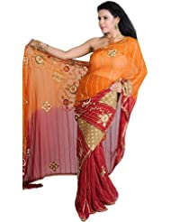 Exotic India Amber And Red Wedding Sari With All-Over Embroidered Sequin - Amber