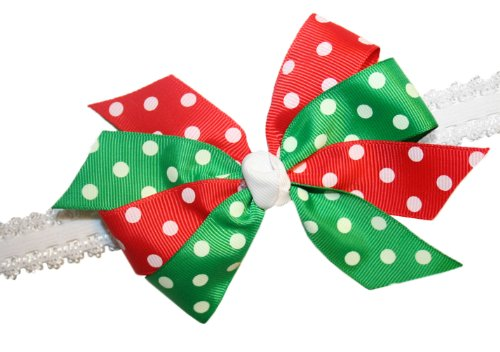Webb Direct 2U Baby-Girls Christmas Dotted Grosgrain Hair Bow Headband (5242) front-1051323