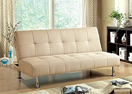 Dewey collection ivory fabric tufted top futon folding sofa bed with side pockets and chrome legs