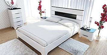 Schlafzimmer Doppelbett 160x200cm Kommode 6554 schwarz / weiß Hochglanz