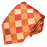 LORENZO CANA Luxury Italian Pure Silk Woven Handmade Tie Orange Beige Pattern 84119