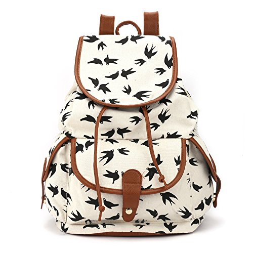 Ptatoms New Upgrade High-capacity Portable Unisex Canvas Backpack Rucksack Travel Outdoor Laptop Hiking Luggage Gym Satchel Bag(swallow Pattern) (White)