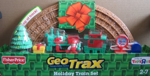 Geo Trax HOLIDAY TRAIN Set w Figure, Full Loop of Track, Sign & More! (Toys