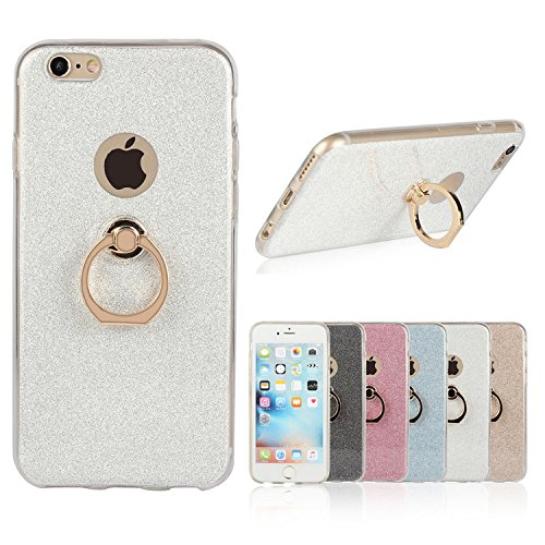 iPhone 6s plus Case, Ranrou TPU Soft Sparkle Powder Back Cover with 360 Degree Rotating Ring Stent for iPhone 6 plus and iPhone 6s plus (5.5 Inch)(Silver)