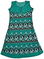 Apsara Women's Net Regular Fit Kurta (Green, M)