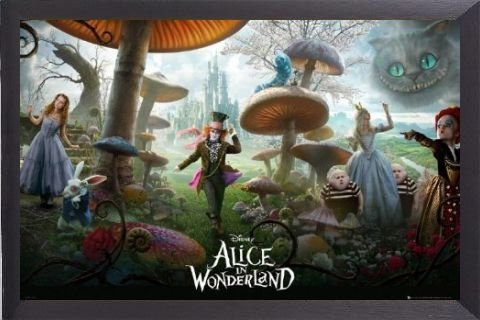 Alice In Wonderland Poster and Frame (Aluminium) - Collage (36 x 24 inches)