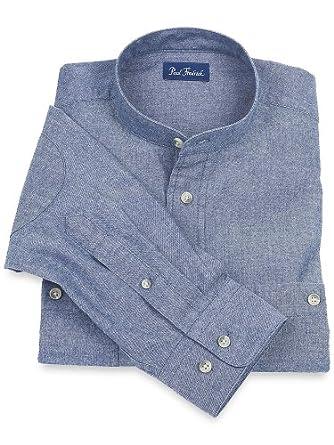 Paul Fredrick Men's Cotton Chambray Band Collar Sport Shirt Indigo 3xl Tall