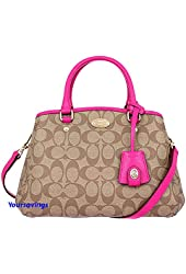 Coach Tote Bag Khaki and and Pink Ruby Classic Coach Bag