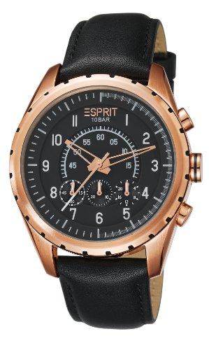 Esprit ES105351004 - Reloj analógico de cuarzo para hombre con correa de piel, color negro