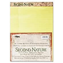 TOPS Second Nature Recycled Legal Pad, 8.5 x 11.75 Inches, Legal Rule, 50 Sheets, 12-Pack, Canary (74890)