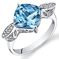 Peora 14K White Gold Cushion Swiss Blue Topaz Diamond Ring (3.58 cttw) from Peora