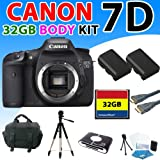 Canon EOS 7d Digital SLR Camera (Body) Kit with 32gb Compact Flash Memory Card, Premium Deluxe Carrying Case, 57 Inch Tripod and More (32gb Premium Kit)