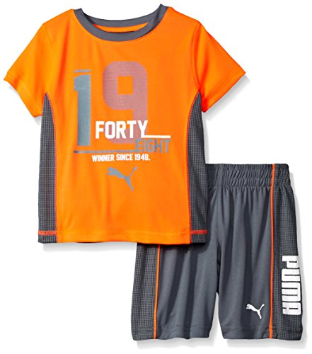 PUMA Boys' 1948 Two Piece Tee and Short Set, Red, 3T
