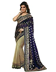 Jay Deep Faux Georgette Saree In Cream Blue Colour For Party Wear